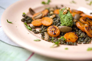 green lentil salad w/ celery-leaf pesto